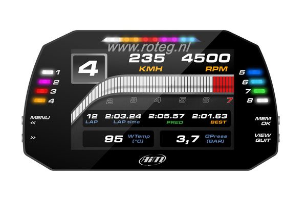 "AIM MXG 7"" race dash datalogger set incl. GPS module 400 cm"