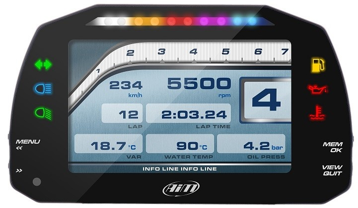 "AIM MXS Strada 5"" full color TFT dashboard met Icons"